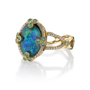 Black Opal Poppy Ring